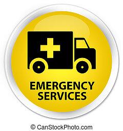Emergency services premium yellow round button - Emergency...