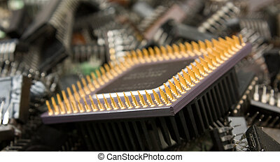 pile old electronic chip