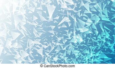 Bright blue abstract polygonal splinters video animation -...