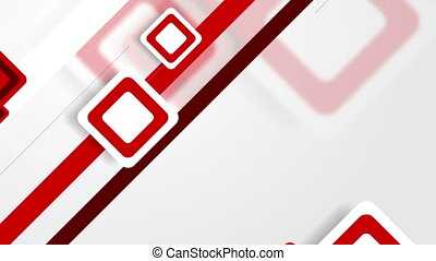 Abstract white and red tech squares video animation -...