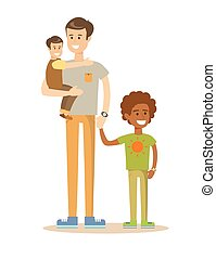 Mixed race family. - mixed-race portrait of a father with...