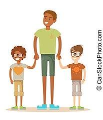Mixed race family. - portrait of a father with his two...