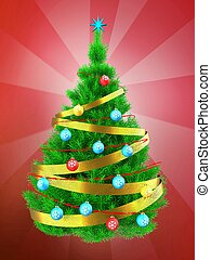 3d vibrant Christmas tree over red - 3d illustration of...