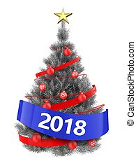 3d silver Christmas tree with 2018 sign - 3d illustration of...