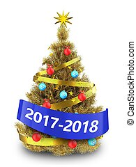 3d golden Christmas tree with 2017 2018 sign - 3d...