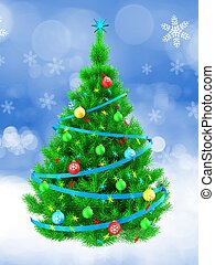 3d vibrant Christmas tree over snow - 3d illustration of...