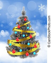 3d silver Christmas tree over snow - 3d illustration of...
