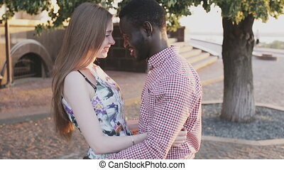interracial relationship theme, black man and white girl
