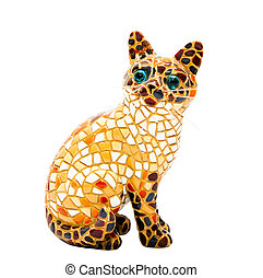 Mosaic cat gift from Egypt to the white background