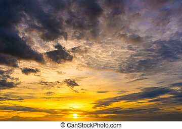 twilight colorful sky with sunlight shine behind background