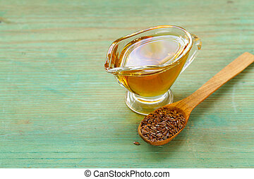 Vegetable oil from flaxseed, healthy food