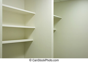 empty shelves - bright clean empty shelving in vacant office...