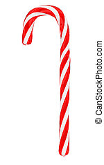 Christmas candy cane isolated on white, vertical -...