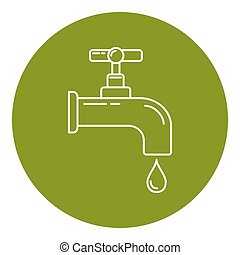 Water tap icon in thin line style. Leaking faucet with...