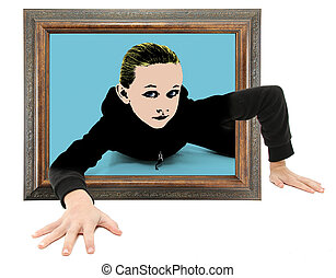 Child Crawling Out of Pop Art - Real child crawling out of...
