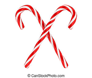 Two crossed christmas candies isolated - Two tradidional...