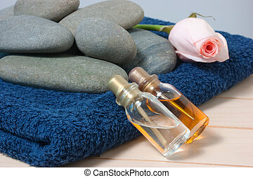 bottle with oil and aroma massage