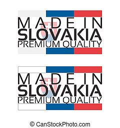 Made in Slovakia icon, premium quality sticker with Slovak...