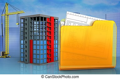 3d with crane - 3d illustration of building construction...