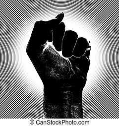 Raising Fist with Barcode - Black fist raising his clenched...