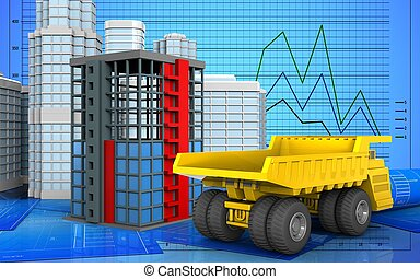 3d of building construction - 3d illustration of building...