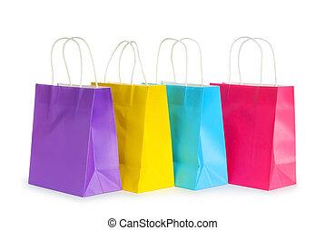 袋, 白, 買い物, 隔離された, 背景