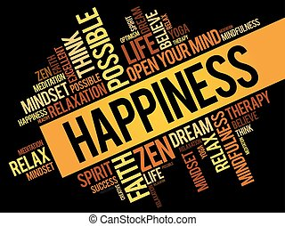 Happiness word cloud collage, concept background