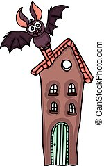 Bat on top of the house - Scalable vectorial image...