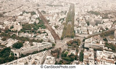 Aerial shot of Catacombs of Paris, metro railway tracks and...