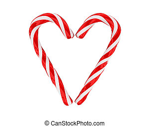 Heart made from christmas candies isolated on white...