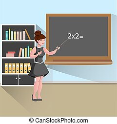 Young female teacher in classroom. Vector illustration