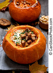 Pumpkin cream soup, stew - Autumn seasonal pumpkin cream...