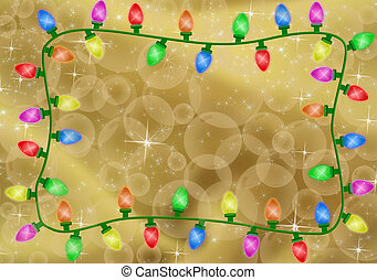 Christmas Lights - Colourful christmas lights on a gold...