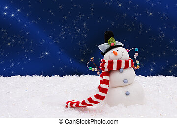 Snowman - A snowman on a night sky background, Winter Time