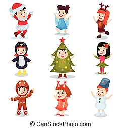 Cute little kids wearing Christmas costumes set, happy...