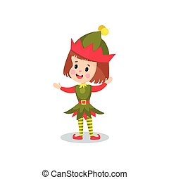 Happy little girl in the costume of Elf, kid in festive...