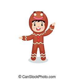 Cute smiling little boy in the costume of Gingerbread, kid...