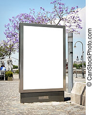 Outdoor blank billboard on city background