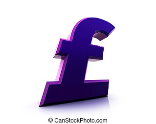 Pound sterling sign - Fancy 3d purple pound sterling sign
