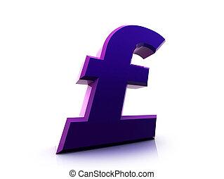Pound sterling sign - Fancy 3d purple pound sterling sign