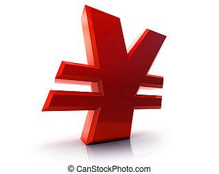 Yen sign - Fancy 3d red yen sign