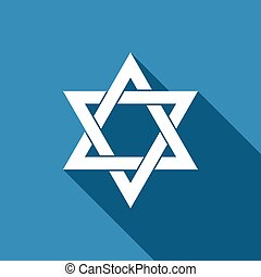 Star of David icon isolated with long shadow. Flat design....