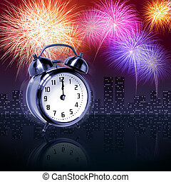 Newyear fireworks - Jumping alarm clock at midnight of new...