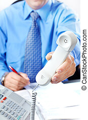 Businessman with telephone