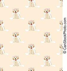 Golden Retriever Dog Bride on Beige Ivory Background - Puppy...
