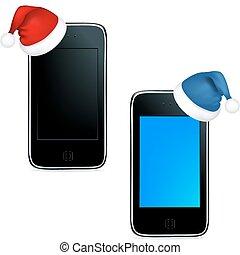 Phones With Caps Of Santa Claus