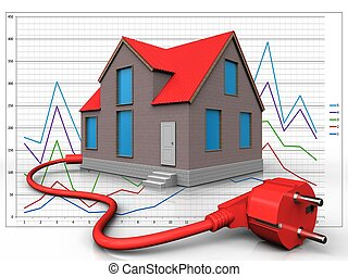3d power cable over diagram - 3d illustration of house with...