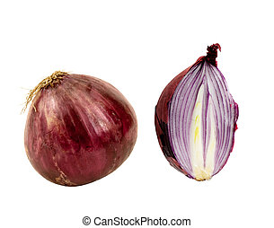 whole and half red onion