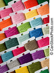 Multicoloured cotton threads - A selection of brightly...