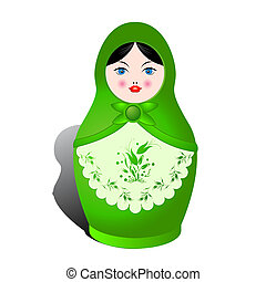 Russian nesting doll and shadow over white background